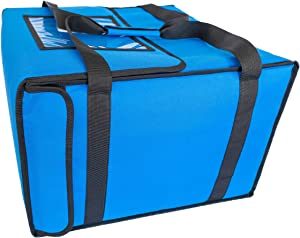 EMMandSOPHIE Insulated Pizza Delivery Bag -Blue - Insulated Food Delivery Bag - Keeps Food Hot - 19 by 19 by 13 Inch - Easily Transport up to 6 Hot Pizzas