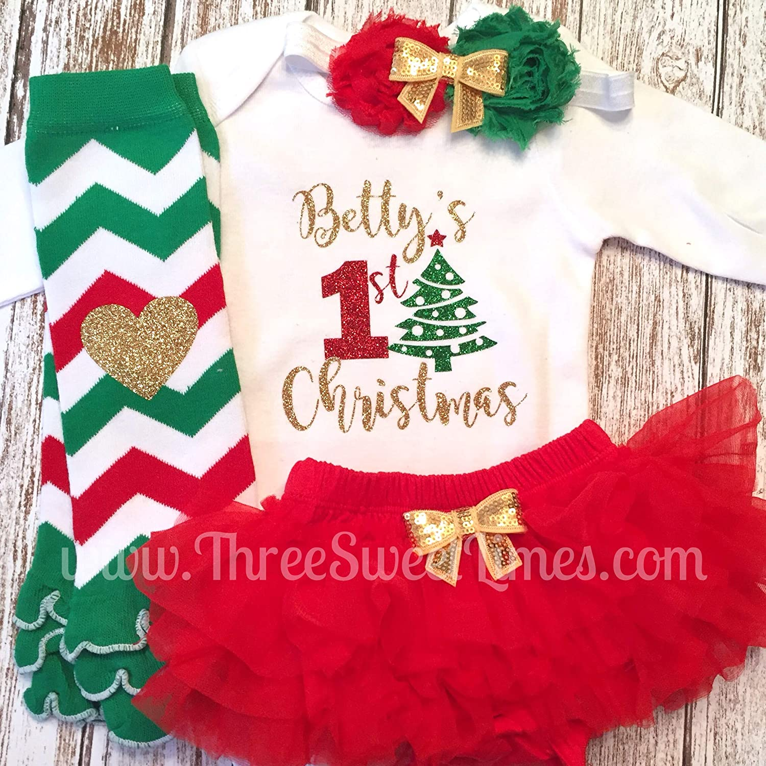 Personalized First Christmas Baby Girl Gold Outfit My 1st Christmas Optional Tutu Bloomers Headband and Leg Warmers
