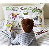 eatsleepdoodle Butterfly Pure Cotton Soft Pillowcase - Color Your Own Doodle Pillowcase with Butterflies of The World - Kid's Butterfly Coloring Pillowcase with Washable Felt Tip Fabric Markers
