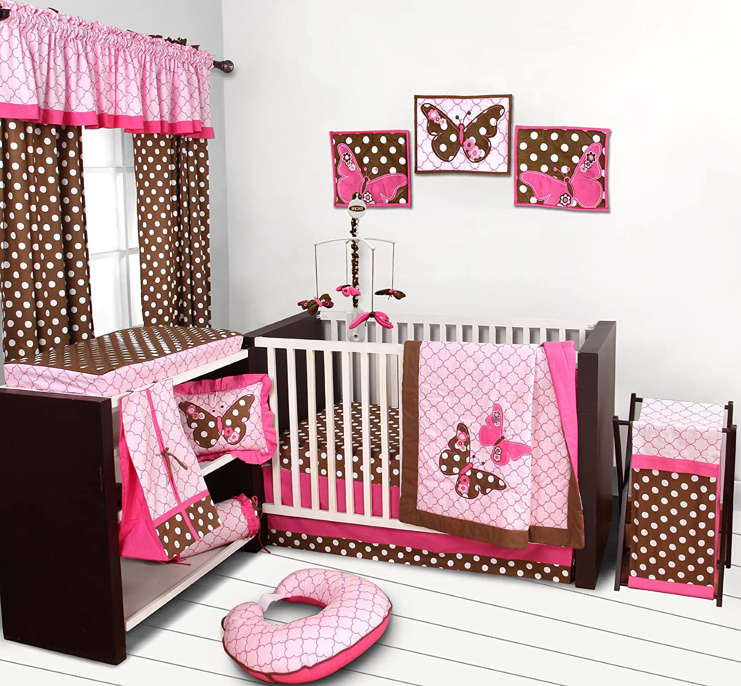 Bacati Butterflies Pink/Chocolate 10 Pc Girls Crib Set with 2 Crib Sheets (Bumper pad not Included)