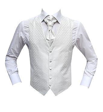 Chaleco de boda MUGA con plastron + pañuelo blanco blanco 66 ...