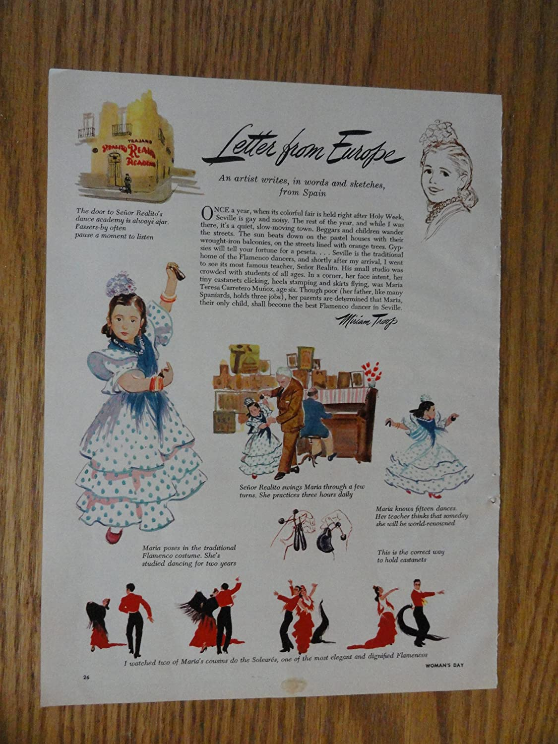Letter from Europe, Authentic 1952 Color Illustration,print ad (little girl dancing) original Vintage 1952 Woman's Day Magazine Print Ad.