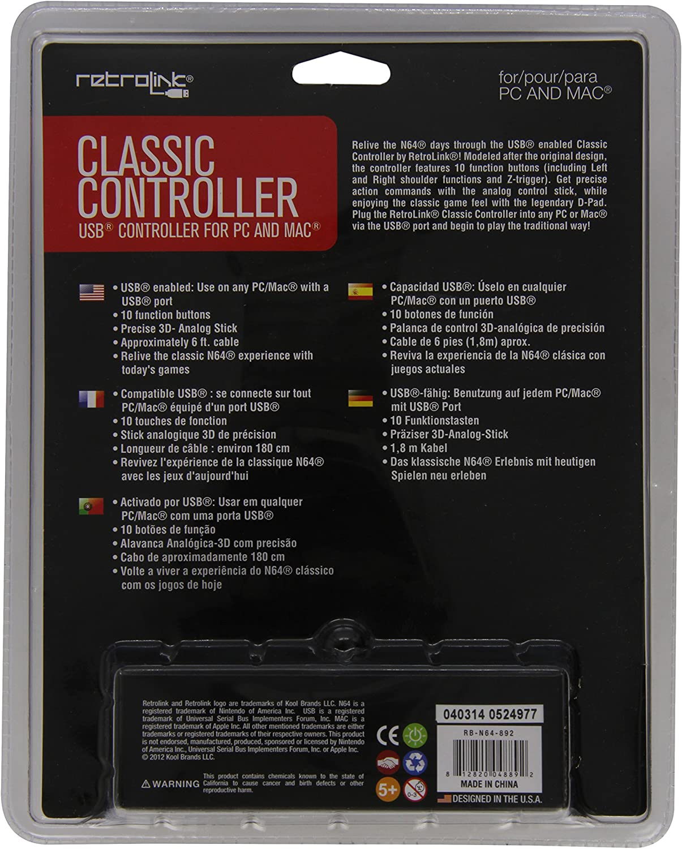 Amazon com: Retro-Bit Nintendo 64 Classic USB Enabled Controller