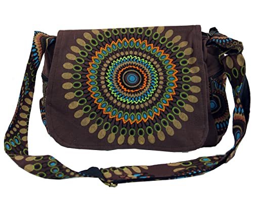 Guru Shop Schultertasche, Hippie Tasche, Goa Tasche Braun, HerrenDamen, Baumwolle, 23x28x12 cm, Alternative Umhängetasche, Handtasche aus Stoff