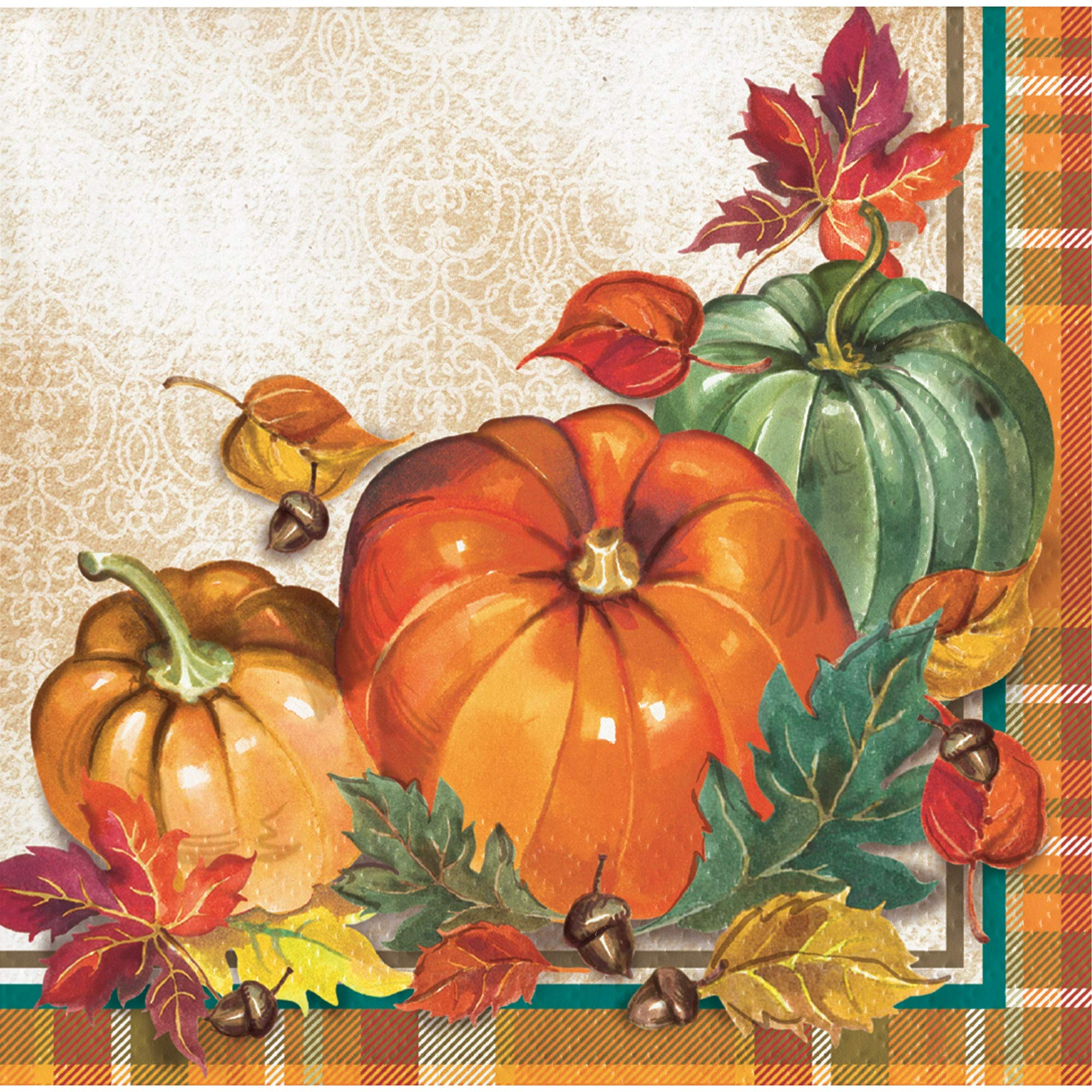 Creative Converting 332031 Traditional Thanksgiving Beverage Napkins Orange