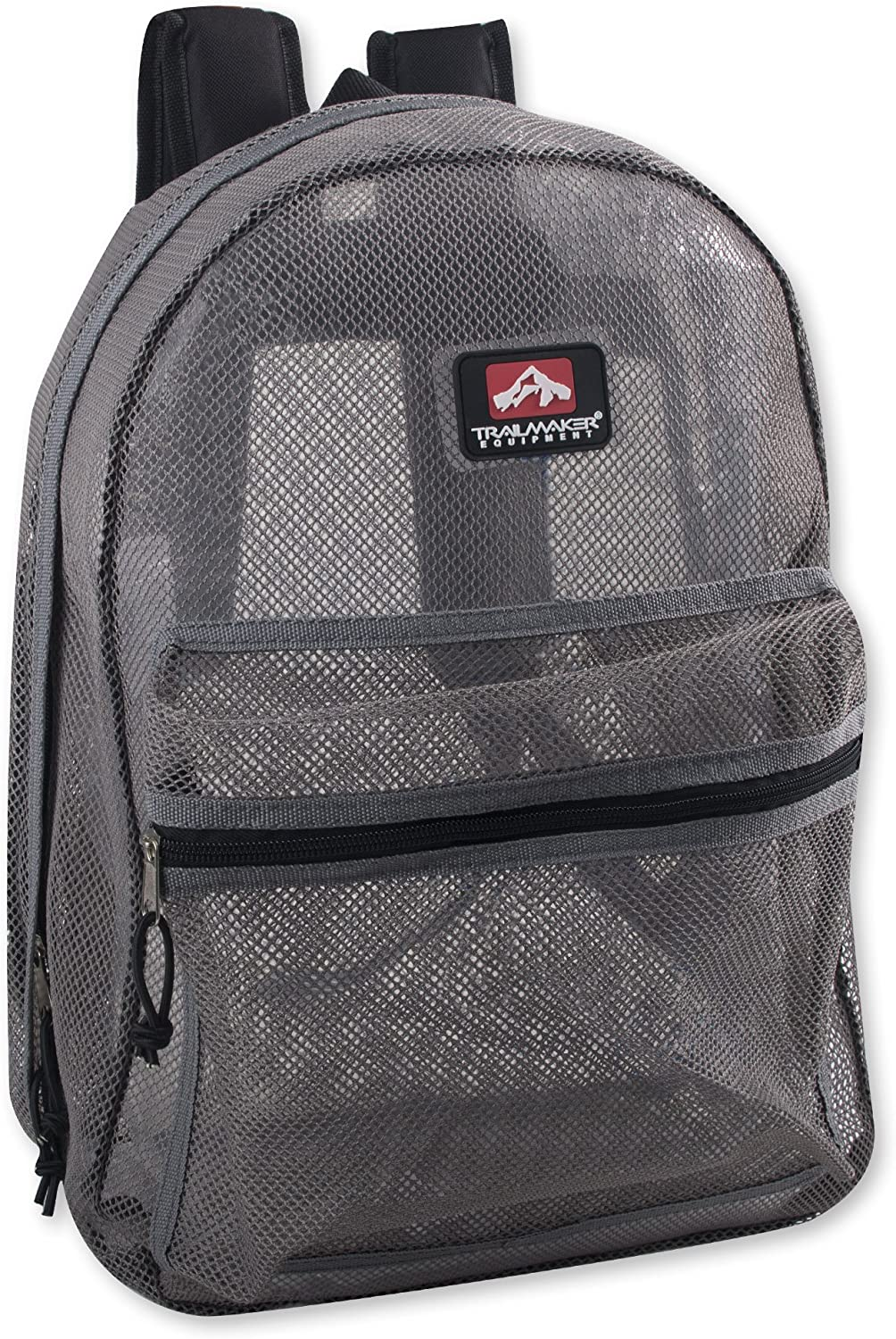 Trailmaker Transparent Mesh Backpack for School, Beach, and Travel, with Padded Shoulder Straps (Grey)