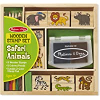 Melissa & Doug Wooden Stamp Set: Safari Animals - 9 Stamps, 5 Colored Pencils, 2-Color Stamp Pad