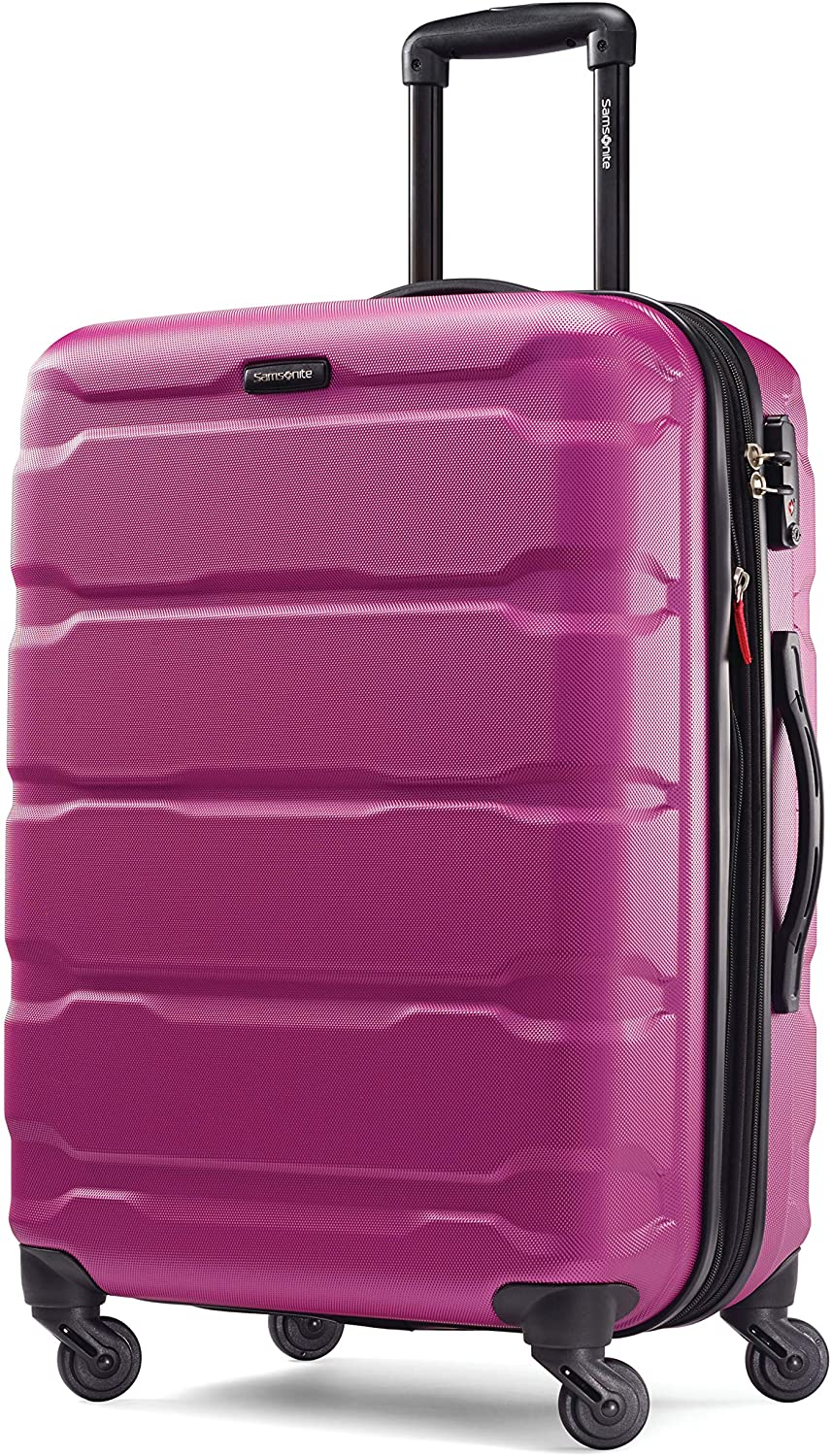 Samsonite Omni PC Hardside Expandable Luggage with Spinner Wheels, Radiant Pink, Checked-Medium 24-Inch