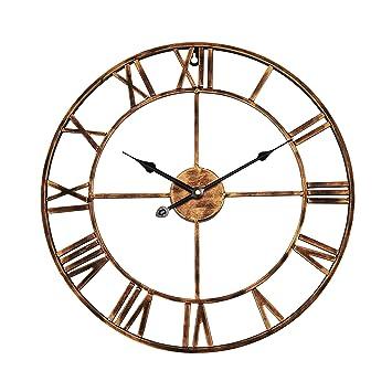 Babimax Horloge Pendule Murale Style Vintage Horloge Murale en Fer Ronde  décorative pour Salon Chambre et 6380037405d6
