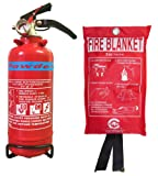 BRITISH STANDARD FSS UK 600G ABC DRY POWDER FIRE EXTINGUISHER WITH FIRE BLANKET. BSI KITEMARKED. IDEAL FOR BOATS HOMES KITCHEN WORKPLACE OFFICES WAREHOUSES GARAGES HOTELS RESTAURANTS