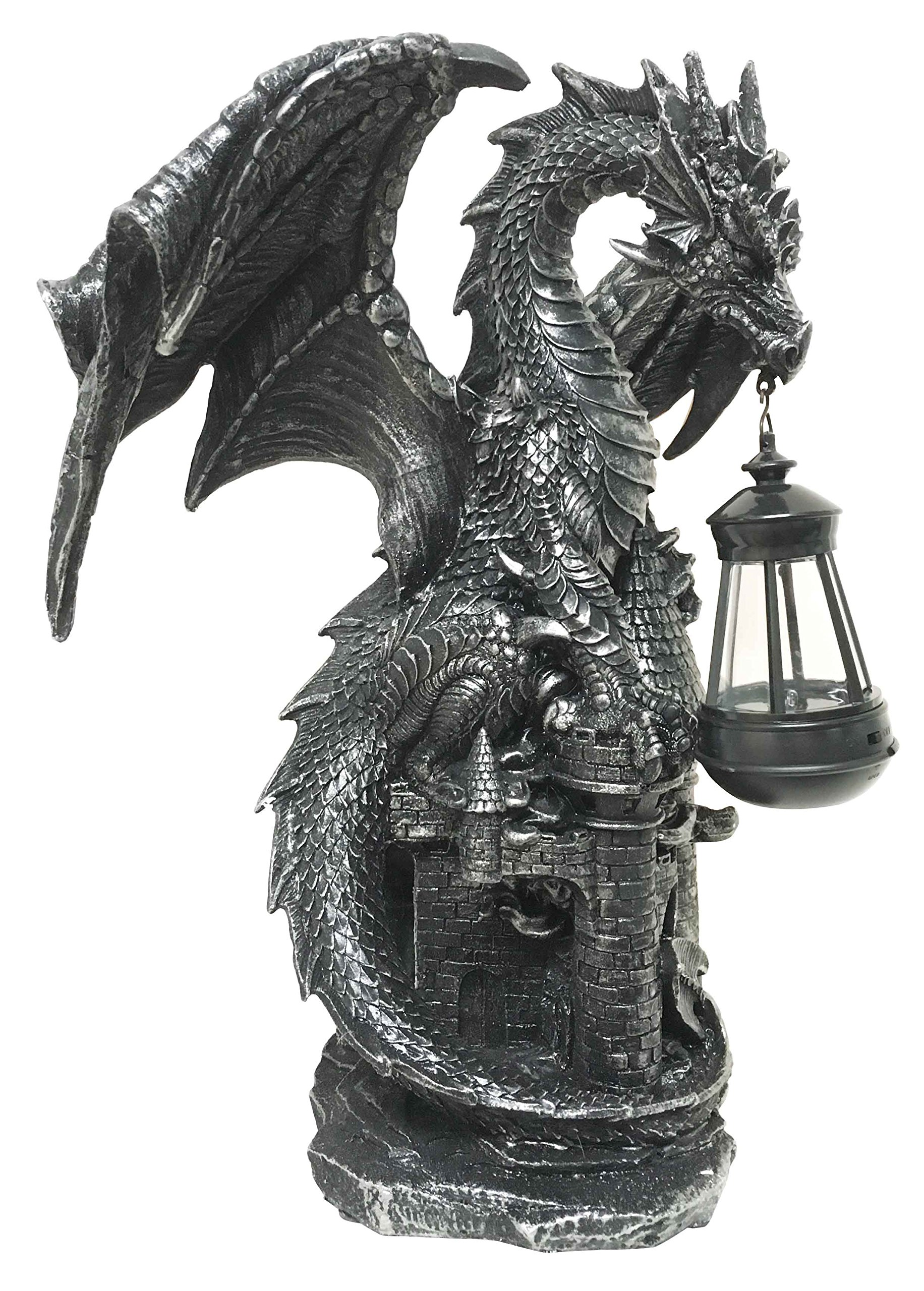 Ferocious Dark Beacon Dragon Guardian of Styx Castle Gate Statue With Solar LED Light Patio Pathways and Indoor Night Light by Ebros Gift