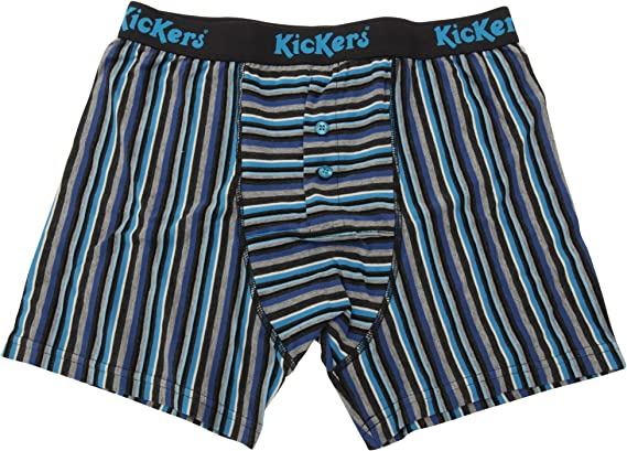 2 Pairs Mens Kickers TWO TONE BLUE Striped Boxer Shorts