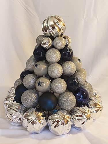 dallas cowboys nfl pre lit centerpiece christmas tree made from ornaments