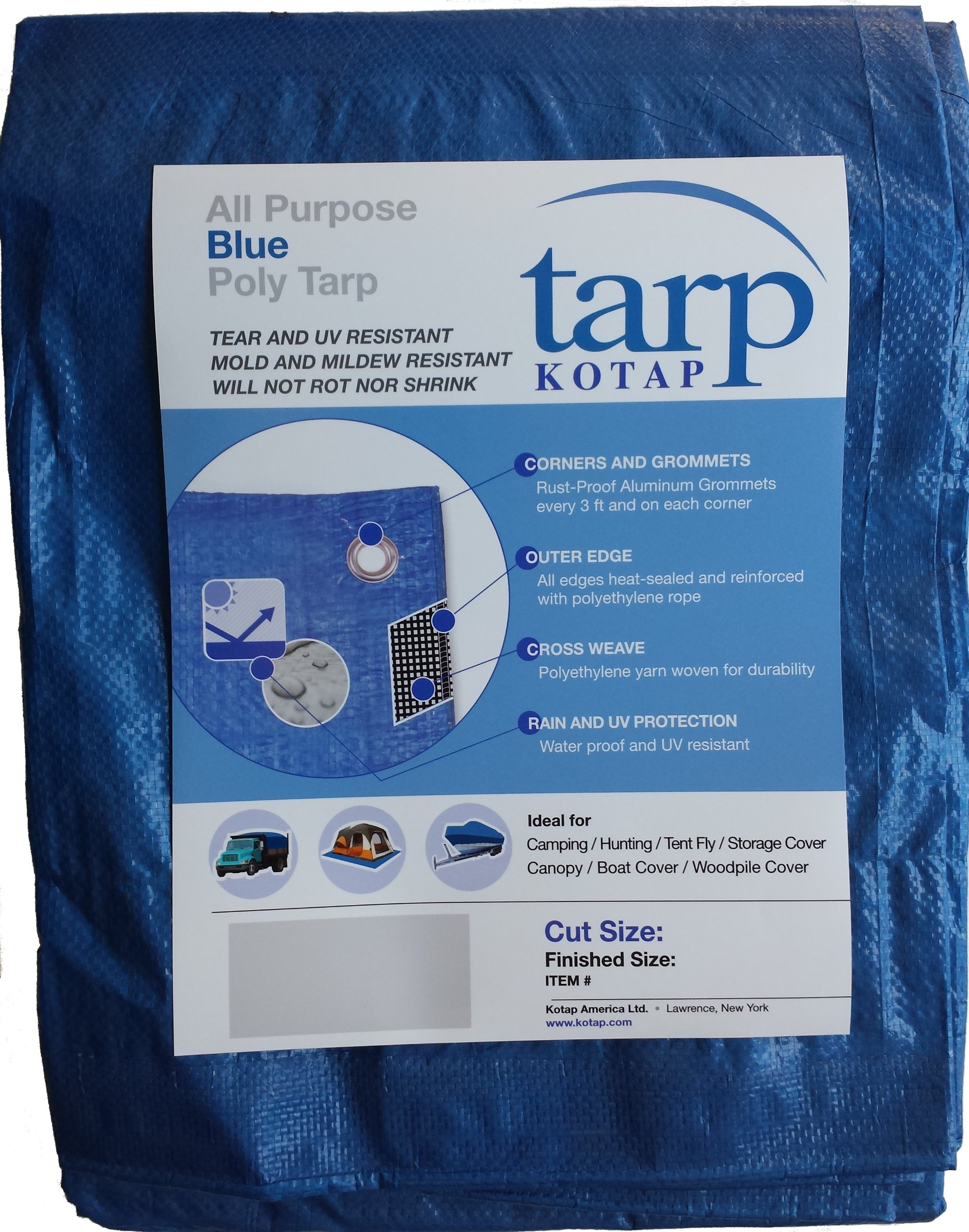 Kotap 10-ft x 15-ft General Purpose Blue Poly Tarp, Item: TRA-1015