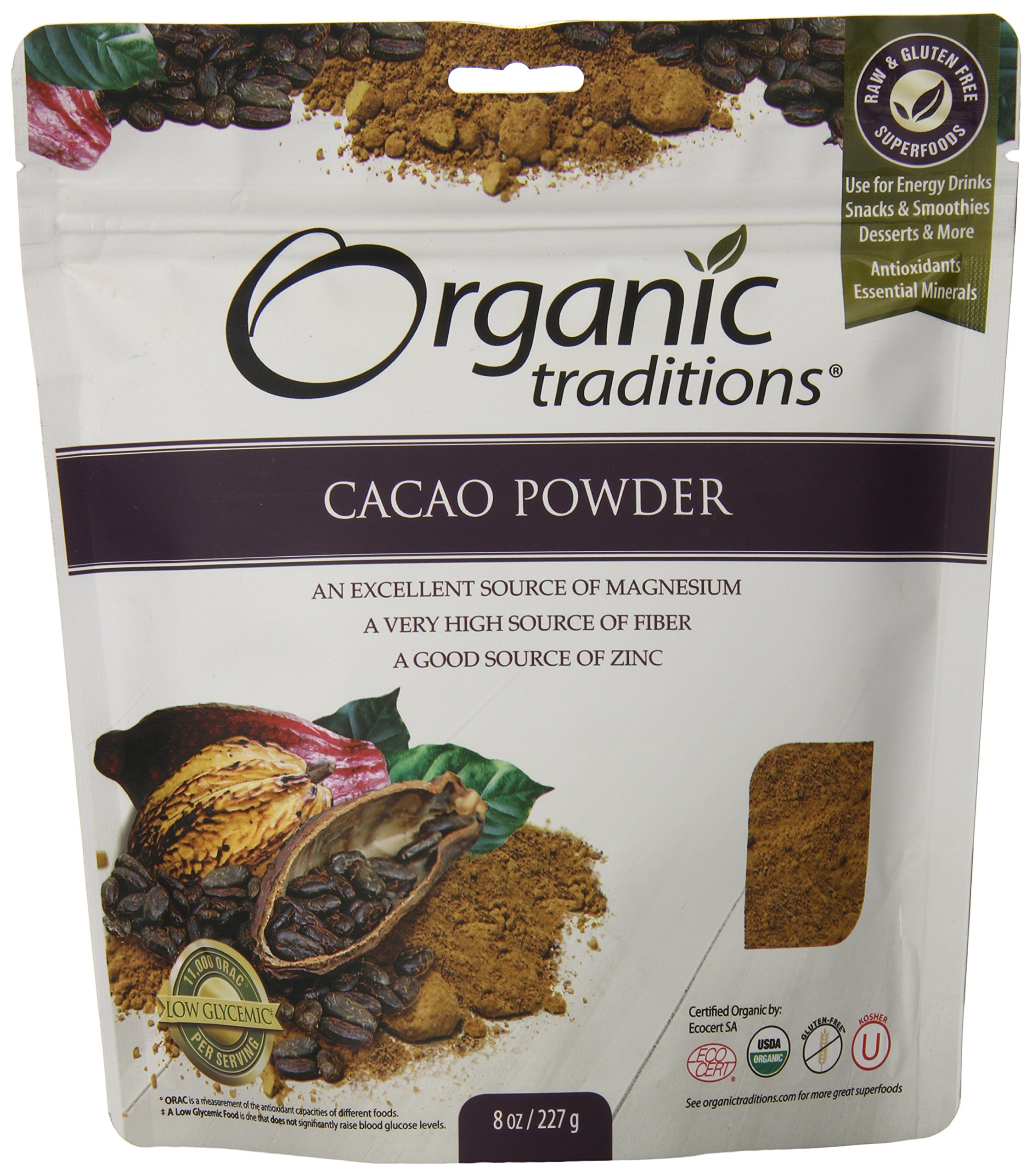 Organic Traditions Organic Powder, Cacao, 8 Ounce
