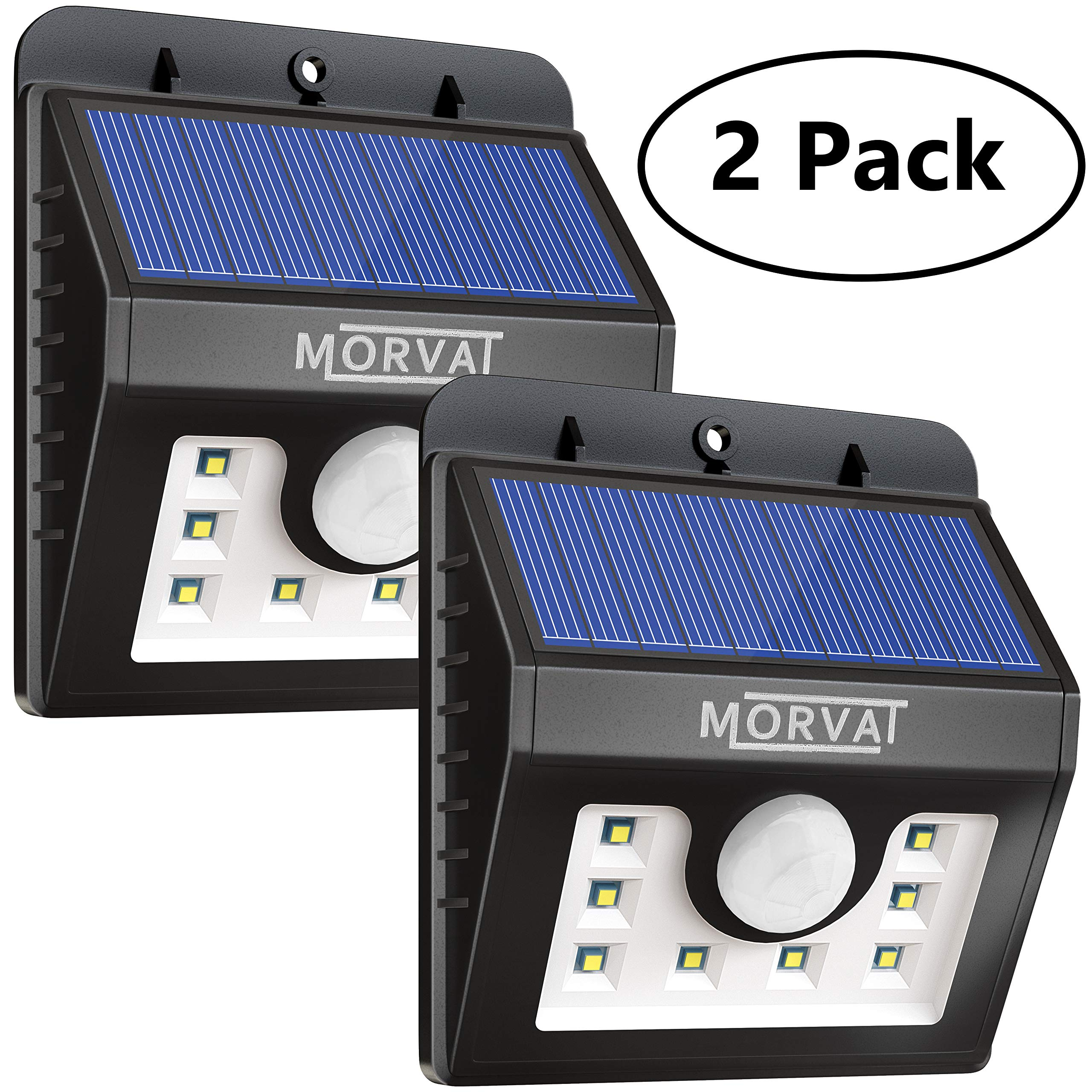 Upgraded Morvat Outdoor Solar Powered Motion Sensor Flood Light - 8 Super Bright LEDs   Waterproof, Wireless, Wide Angle Illumination - Security Lighting for Outdoor Areas: Driveway, Yard, 2 Pack