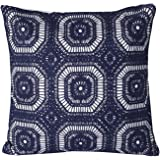 "Mika Home Cotton Embroidery Geometric Circles Accent Decorative Pillow Case Cushion Cover for 18X18"" inserts Navy White"
