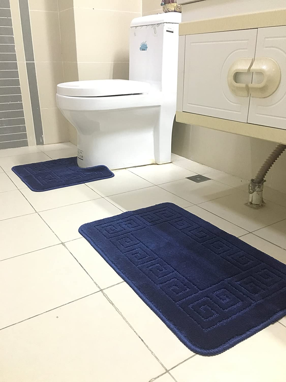Amazon.com: Homcomoda Bathroom Contour Rug Set Washable Bath Shower ...