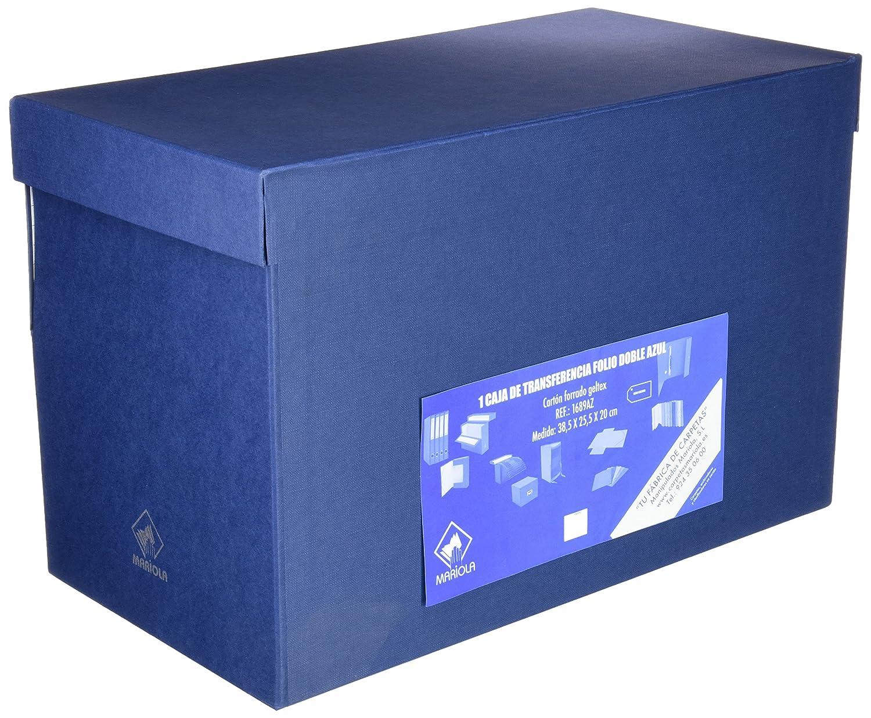 Mariola 946593 - Caja de transferencia forrada en papel, formato doble folio, color azul: Amazon.es: Oficina y papelería