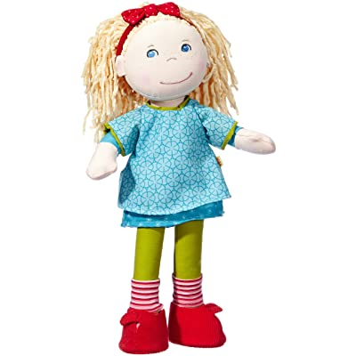 """HABA Annie 13.75"""" Soft Doll with Blonde Hair, Blue Eyes and Embroidered Face for Ages 18 Months and Up"""