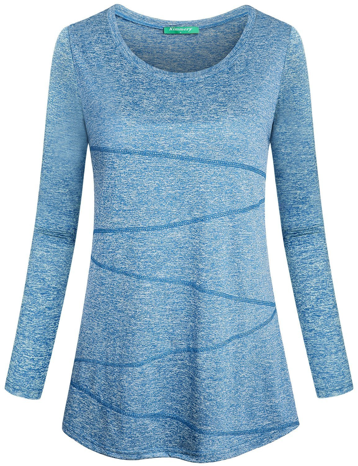 Kimmery Exercise Tops for Women, Polyester T Shirt Long Sleeve Round Collar Breathable Elastic Marled Training Shirt Comfortable Light Blue Large by Kimmery