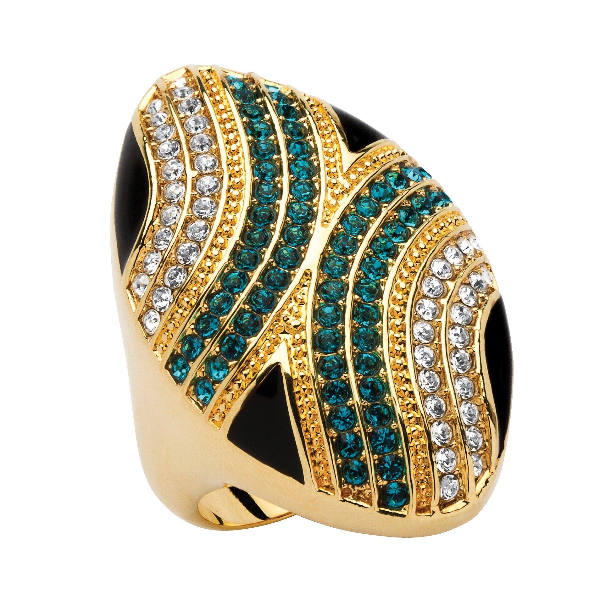 Palm Beach Jewelry 14K Gold-Plated Blue White Black Enamel Ring Made Swarovski Elements Size 6