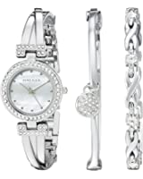 Anne Klein Silvertone Crystal Accented Bangle Bracelet Set