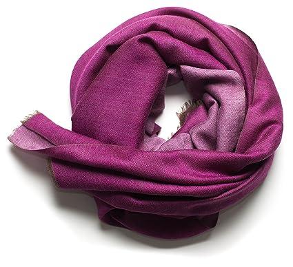Ufash Foulard Pashmina élégant en laine d Inde, deux couleurs, 190x70 cm - 8ecd1663774