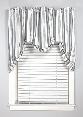 York 60 Inches Wide x 32 Inches Long Polyester Burdock Tie Up Valance Curtain, Gray