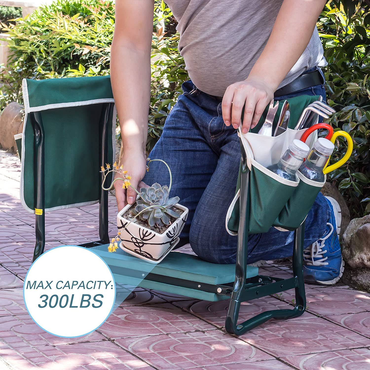 Protect Your Knees and Clothes 4-EVER Garden Kneeler Seat Multiuse Foldable Garden Bench with 2 Large Tool Pouch EVA Foam Pad Sturdy Build Gardeners Foldable Kneeler 2 in 1 Design
