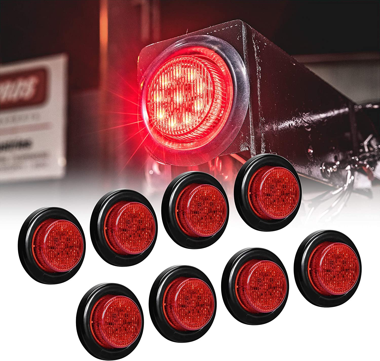 "8pc 2"" Red Round Trailer LED Clearance Marker Lights [DOT FMVSS 108] [SAE P2] [Reflector Lens] [Grommet] [Flush-Mount] [Waterproof IP67] Marker Clearance Lights for Trailer Truck"