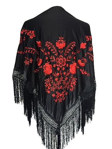 La Señorita Mantones bordados Flamenco Manton de Manila negro rojo