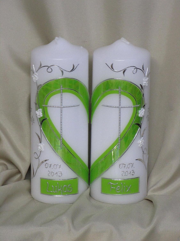 Taufkerze f/ür Zwillinge//Geschwisterkerze ; 2 Kerzen ergeben ein Motiv /♥ ein Herz /♥ inklusive Beschriftung TZ 18