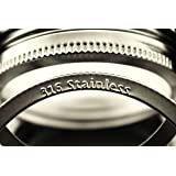 T&Co. STAMPED Stainless Wide Mouth Mason Jar Rings/Bands/Tops - Durable & Rustproof - Set of 6 - For gifts, canning, storage