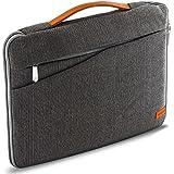 """deleyCON Notebook-Tasche für Notebook / Laptop bis 13,3"""" (33,7cm) Hülle aus robustem Nylon - 2 Zubehörfächer und verstärkte Polsterwände - Grau/Braun"""