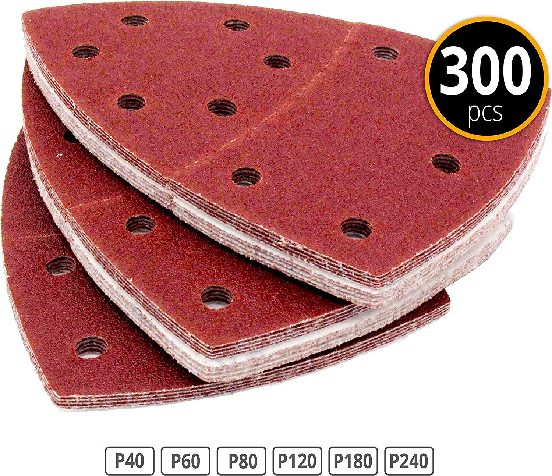 Papier abrasif Feuilles abrasives triangulaires Lot de 300 triangles de pon/çage multi trous 105 x 152 mm 50 x 40 // 60 // 80 // 120 // 180 // 240 Pour ponceuses multifonctions