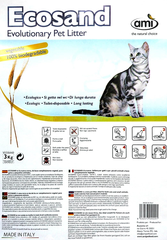 AMI CAT ECOsand Litière pour Chat écologique - Pack de 6 x 3kg   Litière pour chat biodégradable et durable   compostable   agglomérante   ne colle pas aux pattes   liant anti-odeur   vegan