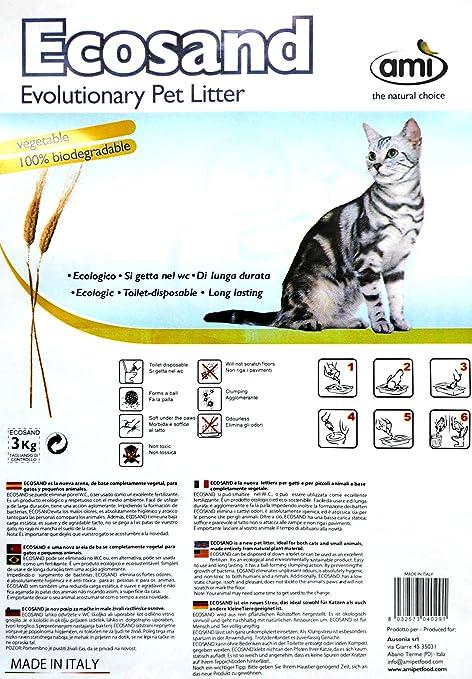 Ami Cat ECO: arena ecológica para gatos, 3 paquetes de 3 kg de almacenamiento, ...