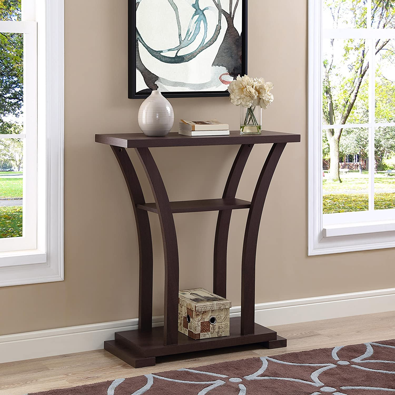 Peachy Cappuccino Finish Hall Console Sofa Entryway Accent Table With Curved Legs Interior Design Ideas Inesswwsoteloinfo