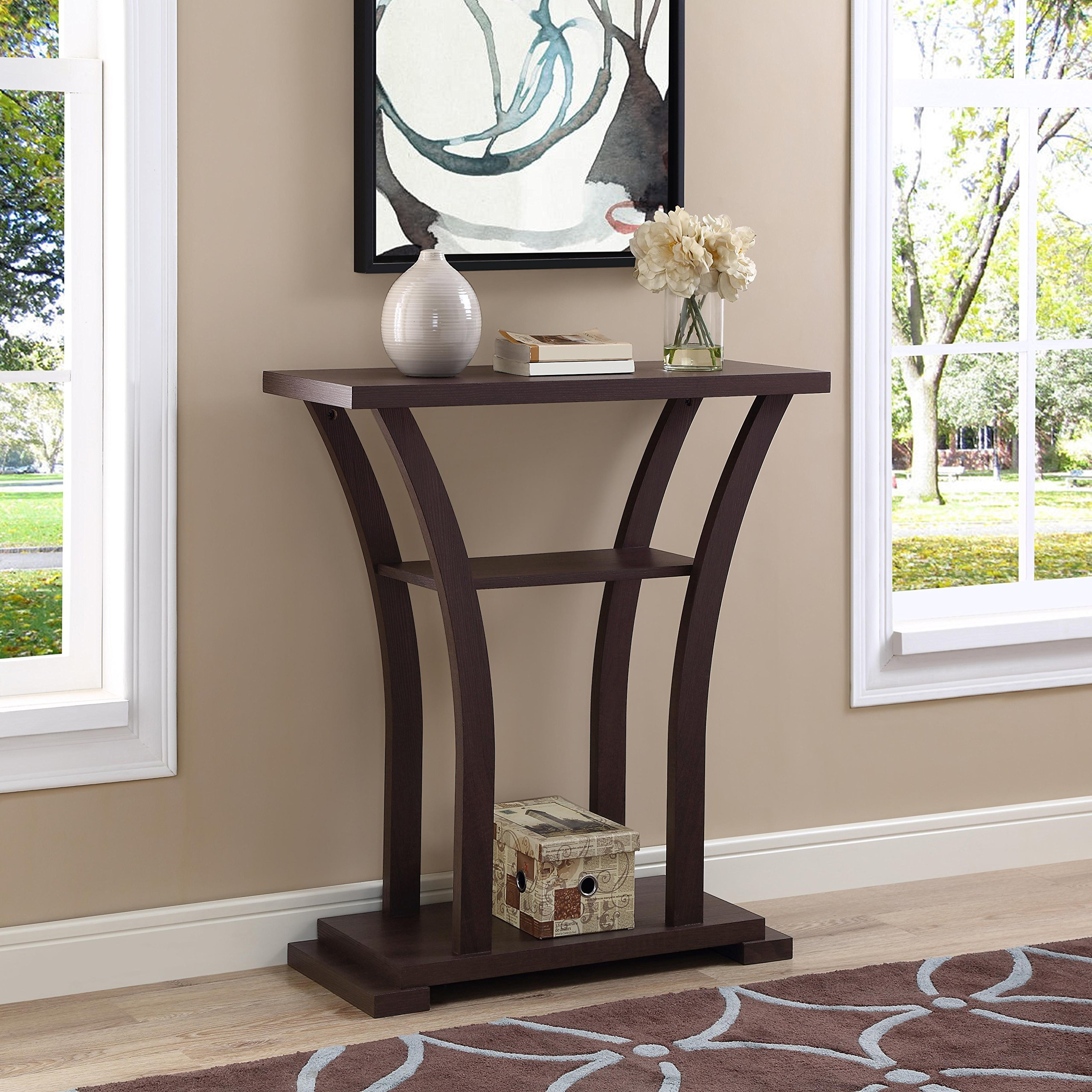 Cappuccino Finish Hall Console Sofa Entryway Accent Table with Curved Legs