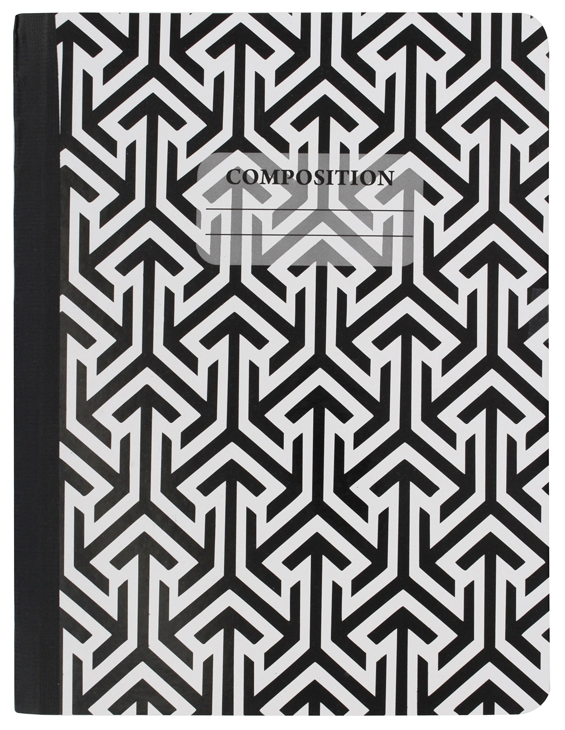 Emraw Black & White 4 Fashion Styles Cover Composition Book with 100 Sheets of Wide Ruled White Paper - Set Includes All Style Covers (4 Pack) by Emraw (Image #3)