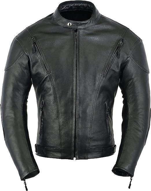 Chaqueta de protección para Moto de Moto de Cuero de Impacto para Hombre, L: Amazon.es: Coche y moto