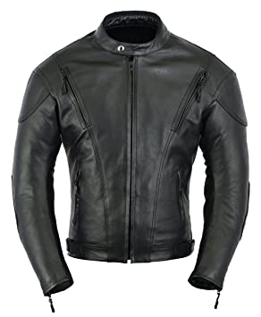 Amazon.com: Mens Impact Leather Motorcycle Motorbike ...