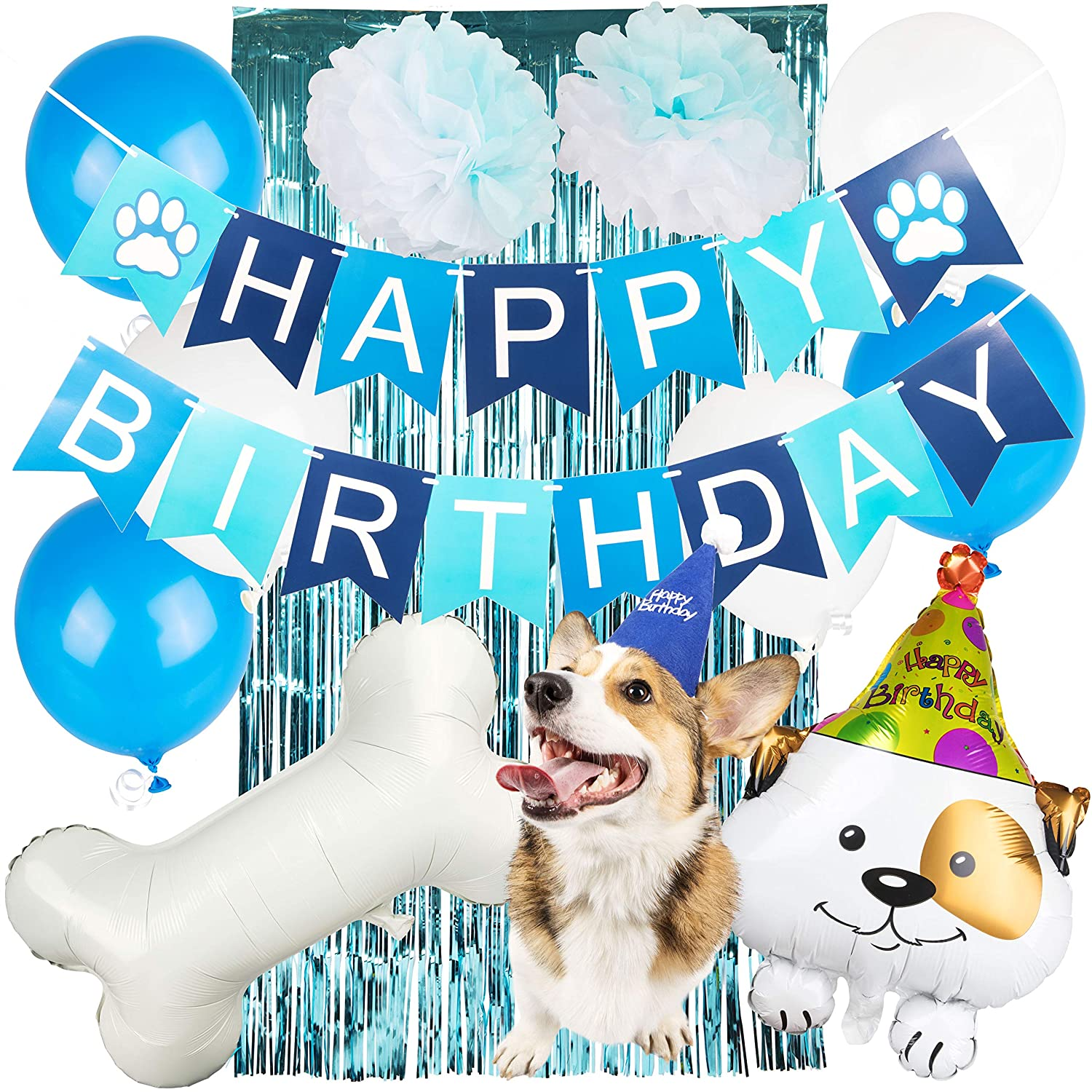 DOG BIRTHDAY BANNER PARTY BUNTING 'WOOF' MULTI COLOUR DECORATION