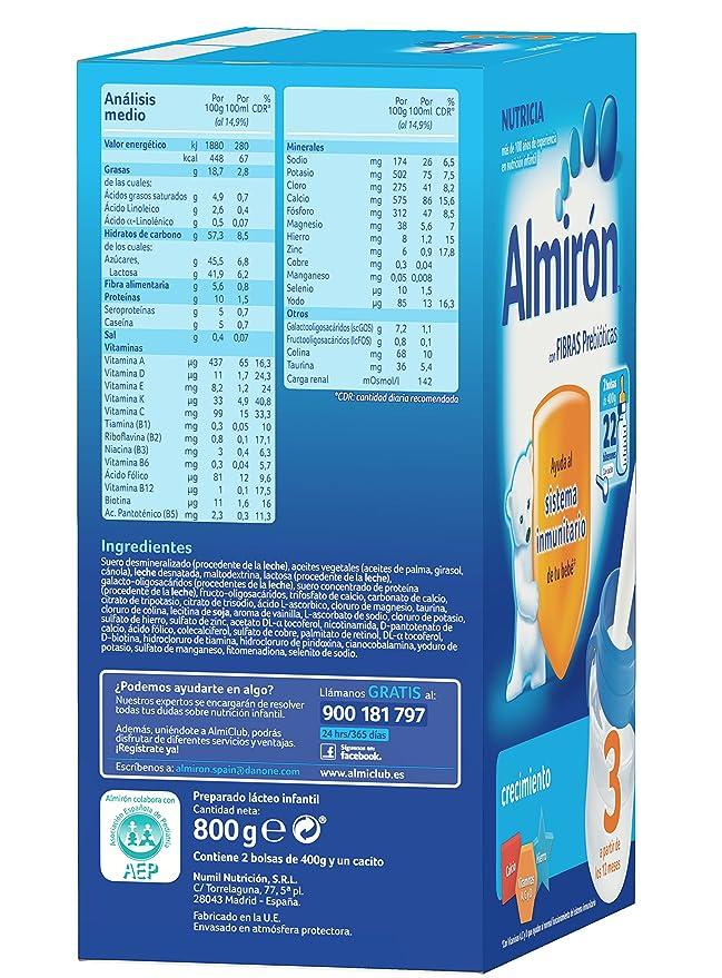Almirón 3 Leche de Crecimiento en Polvo, A partir del primer año - 800 gr: Amazon.es: Amazon Pantry