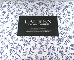 Lauren Queen Size Cottage Chic Floral Sheet Set Blue and White Cotton