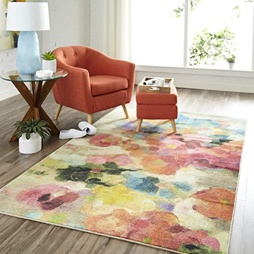 SMALL LARGE MODERN RED ORANGE YELLOW GREEN FLORAL MULTI COLOUR MODERN RUG mats