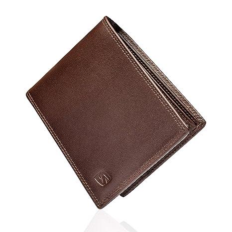 Marrón Carteras de Hombre con Protección RFID y Caja de Regalo Billeteras Cuero Billetero Billeteros Portamonedas