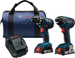 Bosch Power Tools Drill Set - CLPK232A-181 – Two Cordless Drills Tool Kit– Includes Compact Drill, Hex Impact Driver,...