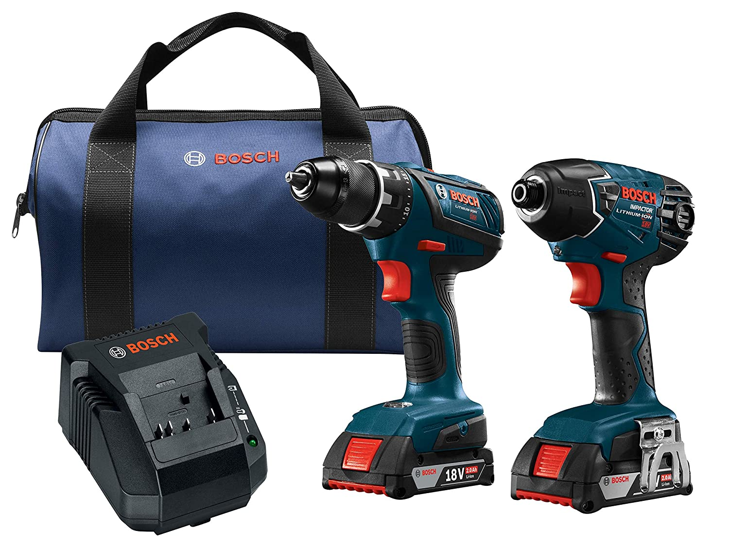 Bosch Power Tools Drill Set – CLPK232A-181 18-Volt Cordless Drill Driver Impact Combo Kit with 2 Batteries, 18V Charger and Soft Carrying Case